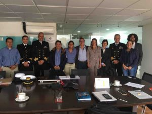 Representatives from the Colombian navy, Conservation International, the National Parks department and Biodiversity Conservation Trust agreeing to fast-track Protect-Malpelo